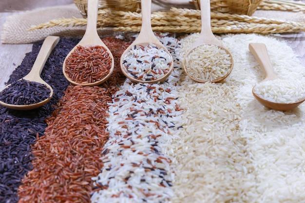 Cinq sortes de riz sur une cuillère en bois.