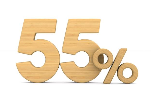 Cinquante cinq pour cent sur fond blanc.