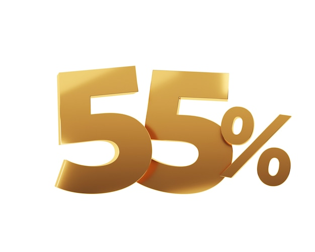 Cinquante-cinq pour cent d'or sur fond blanc. illustration de rendu 3d.