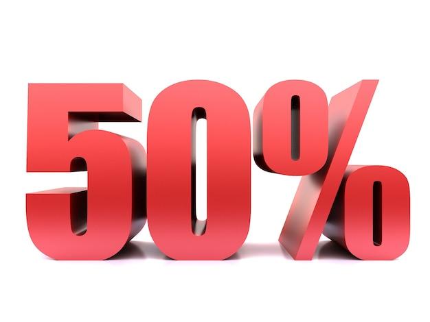 Cinquante pour cent 50% symbole .3d rendu