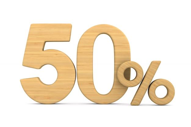 Cinquante pour cent sur fond blanc.