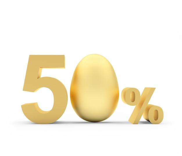 Cinquante pour cent de réduction avec un œuf de pâques doré