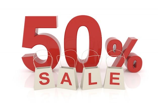 Cinquante pour cent de vente