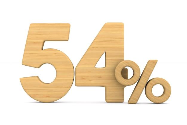 Cinquante quatre pour cent sur fond blanc.