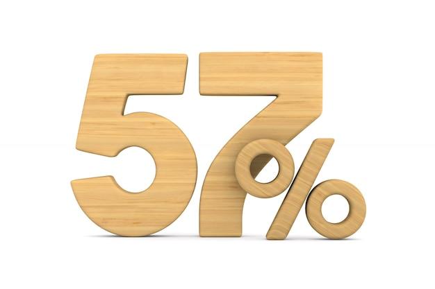 Cinquante-sept pour cent sur fond blanc.