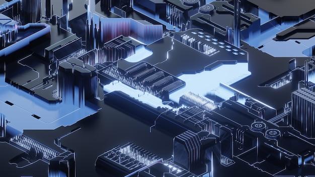 Circuit imprimé, arrière-plan abstrait de la technologie réseau, rendu 3d, image conceptuelle.