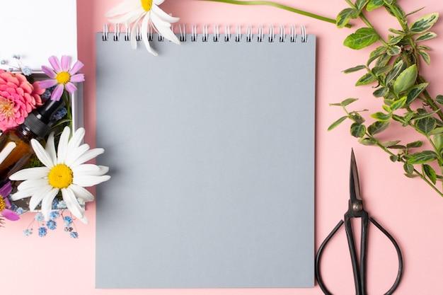 Ciseaux et cahier de fleurs d'herbes pour faire l'herbier sur le rose