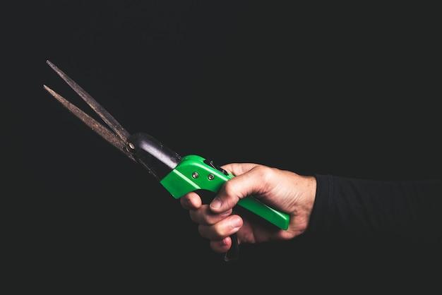 Ciseaux de jardinage dans une main d'homme, service de maintenance