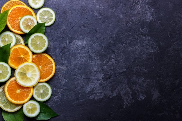 Citron, citron vert et orange