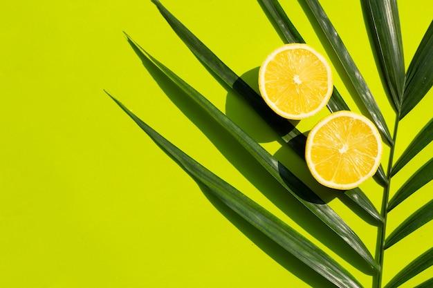 Citron frais avec des feuilles de palmier sur une surface verte