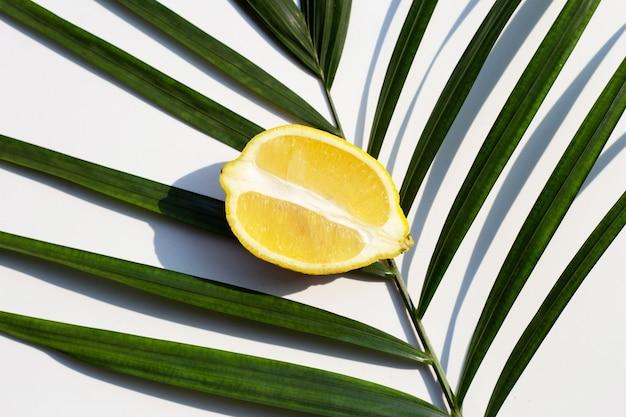 Citron frais avec des feuilles de palmier vert sur une surface blanche