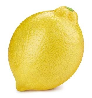 Citron isolé sur fond blanc. tracé de détourage de fruits de citron. macro photo de citron