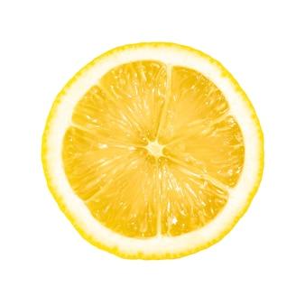 Citron en tranches isolé sur blanc, agrumes tropicaux