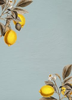 Citron tropical sur un vecteur de fond bleu