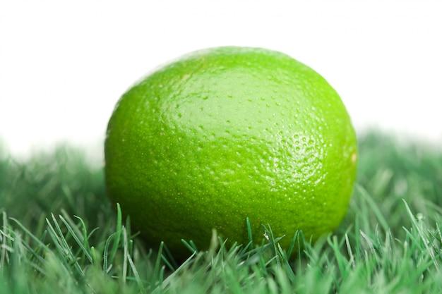 Citron vert sur l'herbe