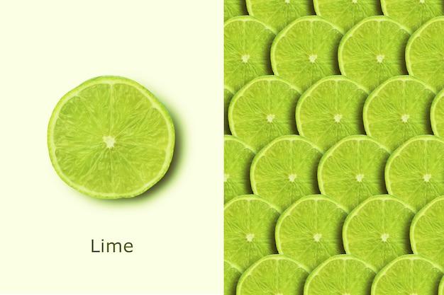 Citron vert, mise en page créative avec des fruits frais