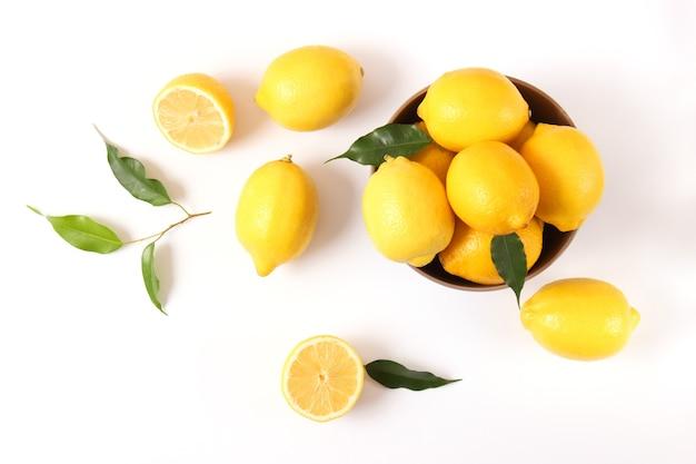Citrons et feuilles vertes sur un fond coloré