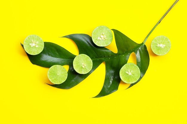 Citrons frais avec feuille verte sur fond jaune.