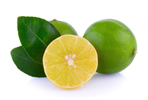 Citrons verts sur fond blanc
