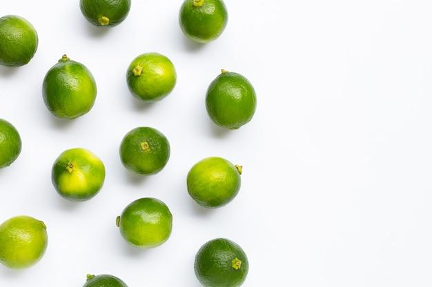 Citrons verts frais sur fond blanc. espace copie