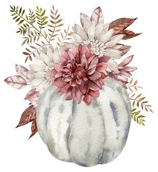 Citrouille grise aquarelle décorée de fleurs d'automne, feuilles d'automne. bel arrangement floral de citrouille isolé sur fond blanc.