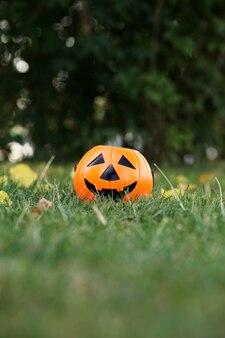 Citrouille d'halloween sur herbe