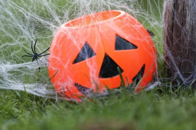 Citrouille d'halloween sur une vieille souche en bois avec fond naturehappy haloween conceptfête d'halloween