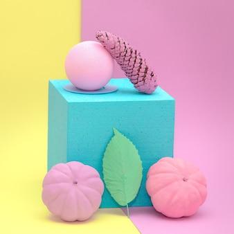 Citrouille peinte et abstraction géométrique. art minimaliste à plat d'automne