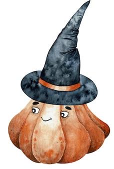 Citrouille souriante aquarelle orange dans un chapeau de sorcière jackolantern dessiné à la main
