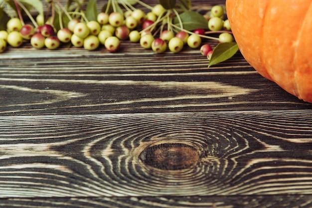 Citrouille sur toile de fond en bois