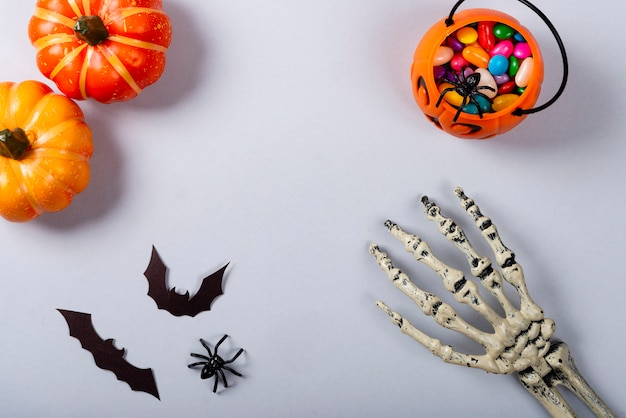 Citrouilles, chauves-souris, bras squelette et bonbons sur fond gris.