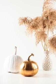 Citrouilles décoratives dorées et blanches sur fond clair avec de l'herbe pampas