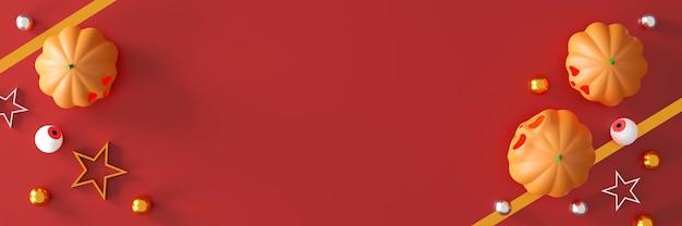 Citrouilles d'halloween sur fond rouge