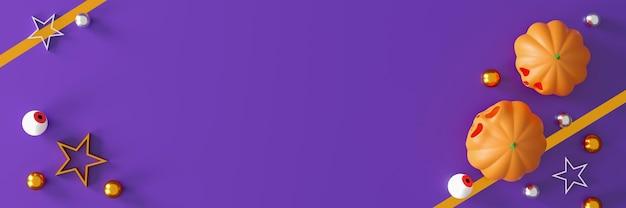Citrouilles d'halloween sur fond violet