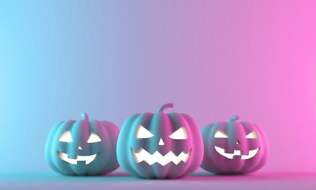 Citrouilles d'halloween isolés sur dégradé de néon