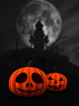 Citrouilles spooky 3d dans le paysage du château hanté