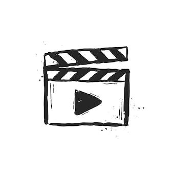Clap de film dessiné à la main. illustration vectorielle.
