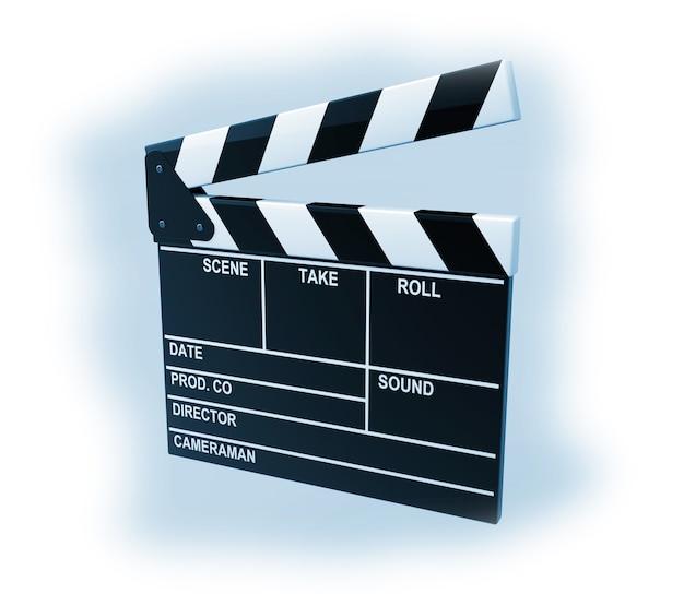 Clap de production de film sur fond bleu