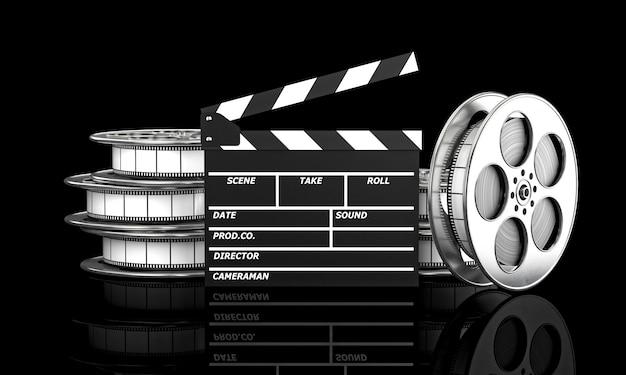 Clapboard et rouleau de film