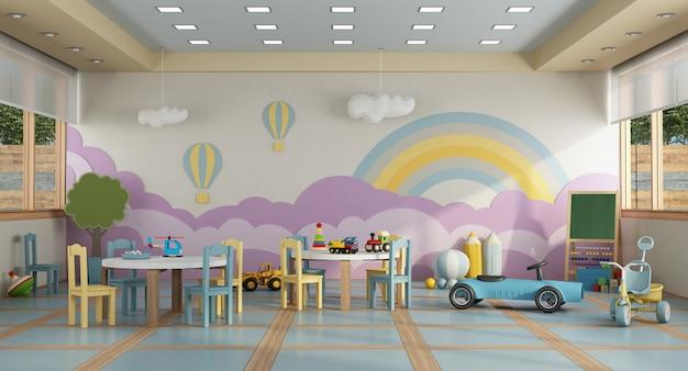 Classe de maternelle sans enfant - rendu 3d