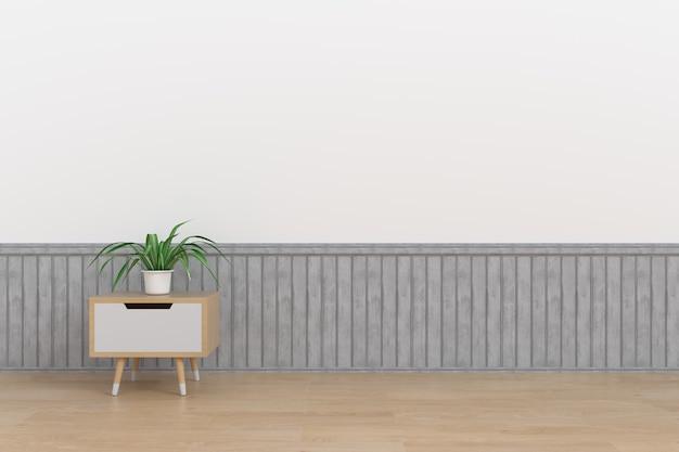 Un classeur avec du bois ornemental placé dans une vaste pièce