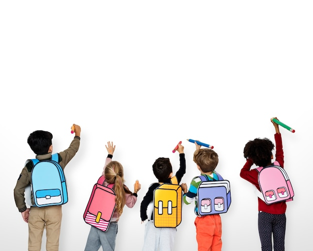Classmates friends bag education scolaire