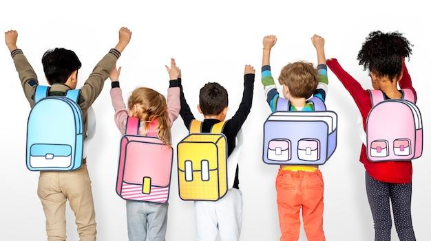 Classmates friends bag education scolaire