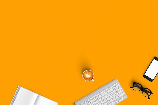 Clavier, café, smartphone, ordinateur portable sur la vue de dessus du fond de couleur