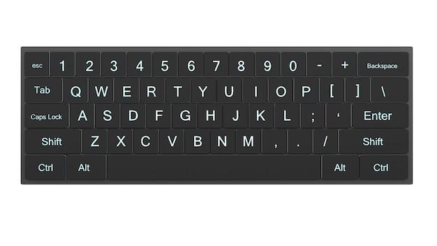 Clavier ou clavier d'ordinateur de rendu 3d sur fond blanc