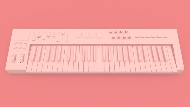 Clavier midi synthétiseur rose sur fond rose. gros plan des touches de synthé. rendu 3d.