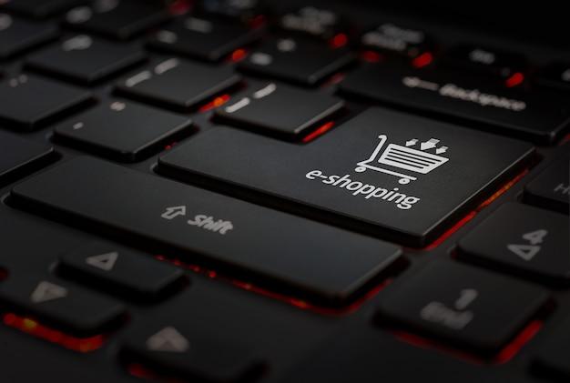 Clavier noir avec touche icône eshopping