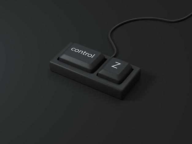 Clavier d'ordinateur abstrait contrôle et bouton z scène noire rendu 3d