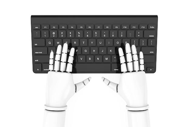 Clavier d'ordinateur moderne noir avec des mains de robot sur fond blanc. rendu 3d