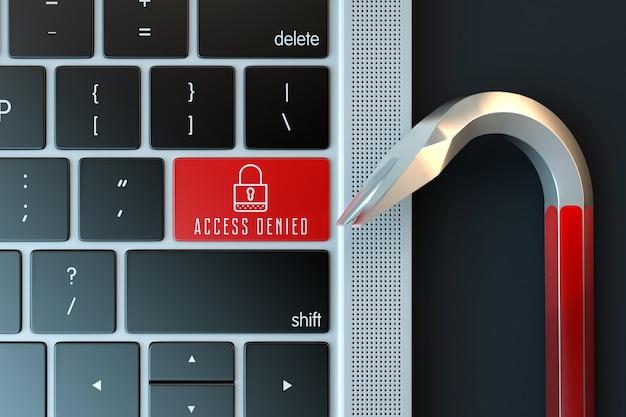 Clavier d'ordinateur portable et pied de biche. concept de cybercriminalité